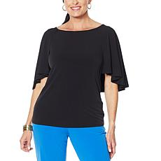 IMAN Global Chic Cape-Sleeve Top with Keyhole Back