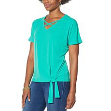 IMAN Global Chic Crisscross V-Neck Top with Tie Hem
