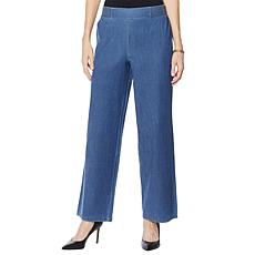 IMAN Global Chic Denim Palazzo Pant with Smocked Waist