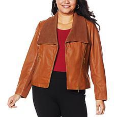 IMAN Global Chic Genuine Lamb Leather Moto Jacket