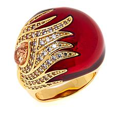 IMAN Global Chic Goldtone Crystal and Enamel Ring