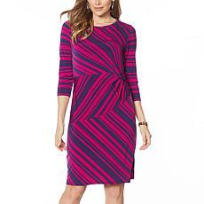 IMAN Global Chic Long-Sleeve Striped Jersey Sheath Dress