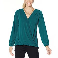 IMAN Global Chic Long-Sleeve Surplice Front Top