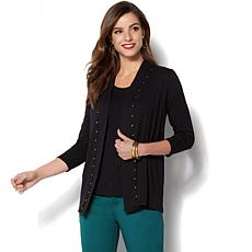 IMAN Global Chic Luxe Studded Cardigan and Tank Twin Set