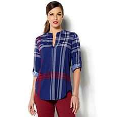 IMAN Global Chic Luxurious Rolled Sleeve Tunic Top