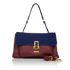 IMAN Global Chic Luxurious Suede and Leather Colorblock Bag