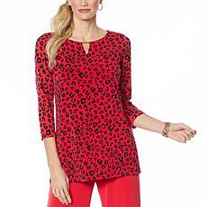 IMAN Global Chic Luxury Resort 3/4-Sleeve Keyhole Tunic