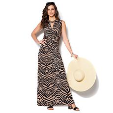 IMAN Global Chic Luxury Resort Knockout Maxi Dress and Necklace