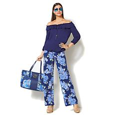 IMAN Global Chic Luxury Resort Palazzo Pant and Ruffle Top Set