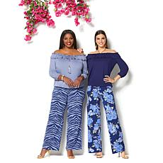 d4863db2a90 Clearance. IMAN Global Chic Luxury Resort Palazzo Pant and Ruffle Top Set  ...
