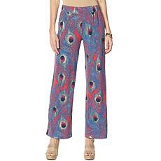IMAN Global Chic Luxury Resort Peacock-Print Palazzo Pant