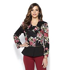 IMAN Global Chic Power Ponte Convertible Moto Stretch Jacket
