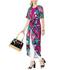 IMAN Global Chic Printed Empire-Waist Duster