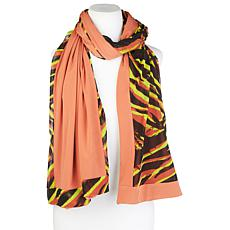 IMAN Global Chic Reversible Print Mesh Border Scarf