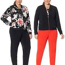 IMAN Global Chic Reversible Stretch Knit Bomber Jacket