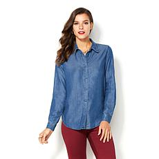 IMAN Global Chic Runway Glam Button Down Solid Top