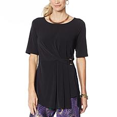 IMAN Global Chic Short-Sleeve Knot-Front Top