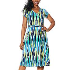 IMAN Global Chic Short-Sleeve Printed Faux Wrap Dress