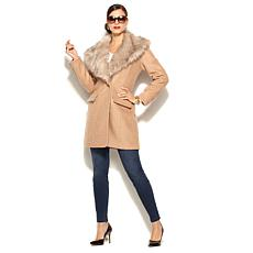 IMAN Platinum Boucle City Coat with Removable Collar