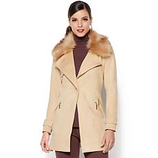 IMAN Platinum Soft Faux Suede Driving Coat with Faux Fur
