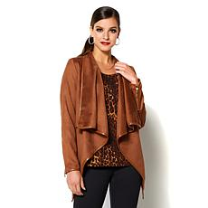 IMAN Platinum Wrap Yourself in Style Faux Suede Jacket