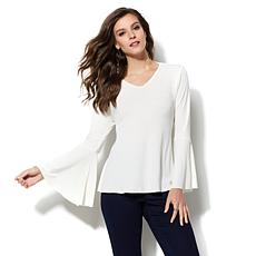IMAN Runway Chic Luxurious Bell-Sleeve Top