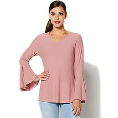 IMAN Runway Chic Luxurious Bell-Sleeve Top - Fashion