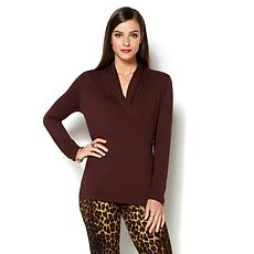 IMAN Runway Chic Luxurious Long-Sleeve Crossover Top