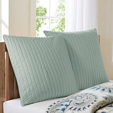 "INK+IVY Camila Cotton Quilted Euro Sham - Seafoam - 26"" x 26"""