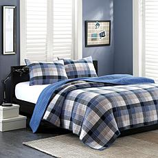 INK+IVY Maddox Cotton Coverlet Set - Blue - Queen