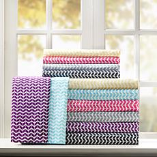 Intelligent Design  Chevron Printed Microfiber Sheet Set -Queen/Yellow
