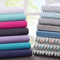Intelligent Design Cotton-Blend Jersey Sheet Set - Purple - Twin XL
