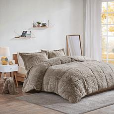 Intelligent Design Malea Faux Fur Comforter Set Grey - Full/Queen