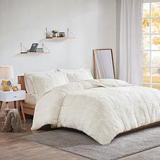 Intelligent Design Malea Shaggy Faux Fur Comforter Set Ivory - King