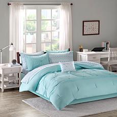 Intelligent Design  Toren Embroidered Comforter & Sheet Aqua Twin XL