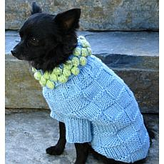 Isabella Cane Knit Dog Sweater - Blue w/Green Poms XL