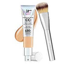 IT Cosmetics Medium Tan Full Coverage SPF 50 CC Cream with Plush Brush