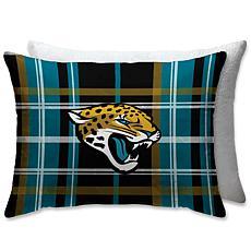 "Jacksonville Jaguars PLUSH PLAID Sherpa 20x26"" Bed Pillow"