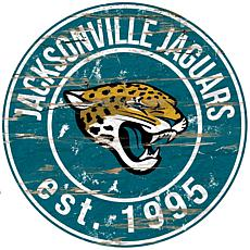 Jacksonville Jaguars Round Distressed Sign