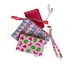 Jade & Deer 4-piece Travel Charging Set with Wristlet Bag - Watermelon