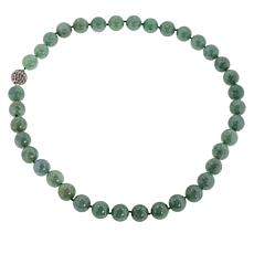 """Jade of Yesteryear 20"""" Sterling Silver Pavé Clasp Beaded Necklace"""