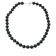 "Jade of Yesteryear 32"" Sterling Silver Jade Beaded Necklace"
