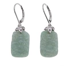 Jade of Yesteryear Carved Emerald-Cut Green Jade Drop Earrings
