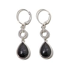 Jade of Yesteryear Charcoal Jade & CZ Teardrop Earrings