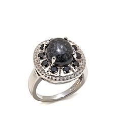Jade of Yesteryear Charcoal Jade, Spinel and CZ Ring