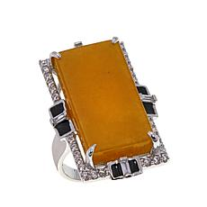 Jade of Yesteryear Color-Enhanced Yellow Jade and CZ Art Deco Ring
