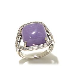 Jade of Yesteryear Cushion Cut Lavender Jade & CZ Ring
