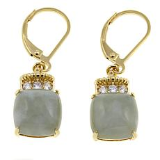 Jade of Yesteryear Cushion Green Jade and CZ Drop Earrings