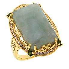 Jade of Yesteryear Emerald-Cut Jade and Multi-Gemstone Ring