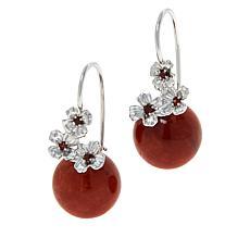 Jade of Yesteryear Floral Gemstone and Jade Bead Drop Earrings